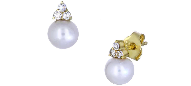 Σκουλαρίκια Καρφωτά από Χρυσό Κ18 με Μαργαριτάρι & Διαμάντια (24697)
