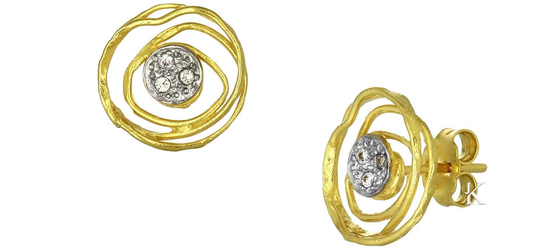 Σκουλαρίκια Καρφωτά από Χρυσό & Λευκόχρυσο Κ14 με Ζιργκόν (24504)