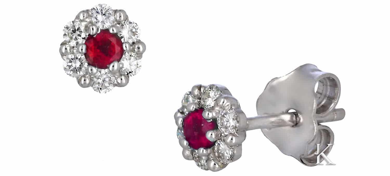Σκουλαρίκια Καρφωτά από Λευκόχρυσο Κ18 με Ρουμπίνι & Διαμάντια (34828)