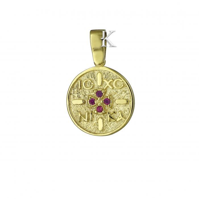 SKU-573 / Κωνσταντινάτο Χρυσός Κ9 με Ζιργκόν Διπλής Όψεως