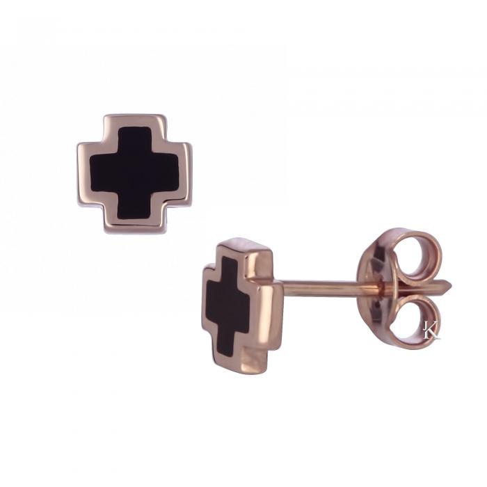 SKU-467 / Σκουλαρίκια Ροζ Χρυσός Κ14 με Σμάλτο