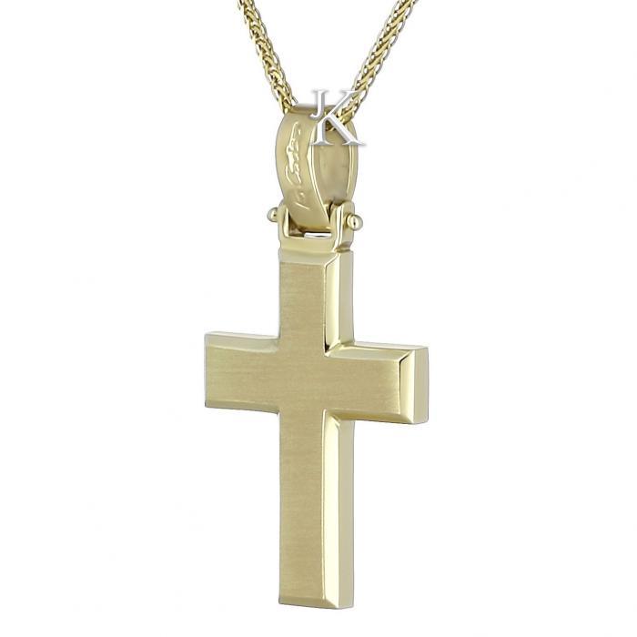 SKU-471 / Σταυρός Facad'oro Χρυσός Κ14 Διπλής Όψεως