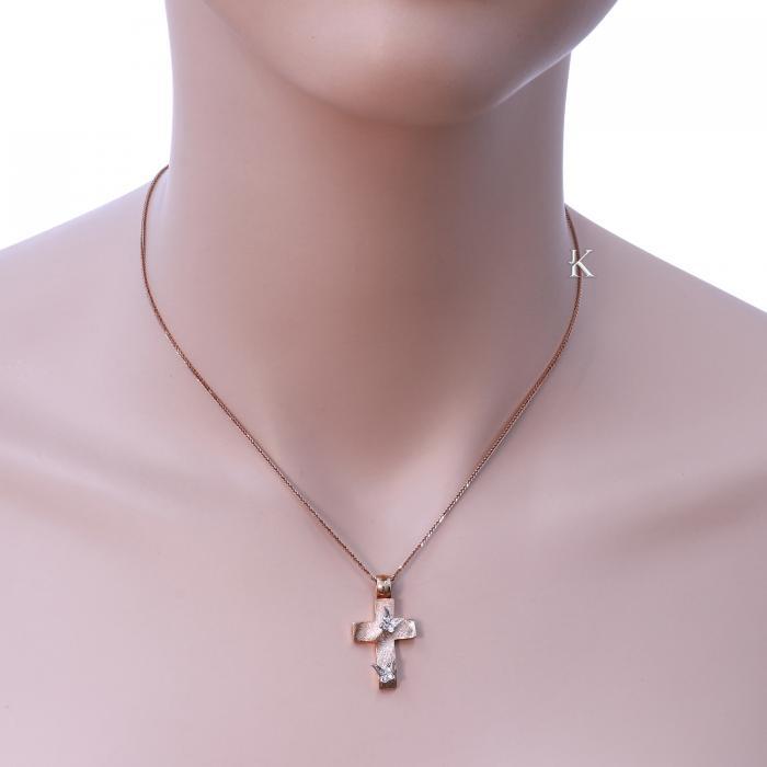 SKU-913 / Σταυρός Ροζ Χρυσός & Λευκόχρυσος Κ14 με Ζιργκόν