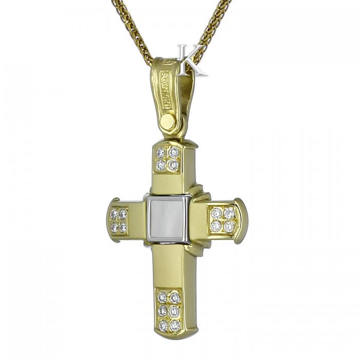 SKU-834 / Σταυρός Τριάντος Χρυσός & Λευκόχρυσος Κ14 με Ζιργκόν & Φίλντισι
