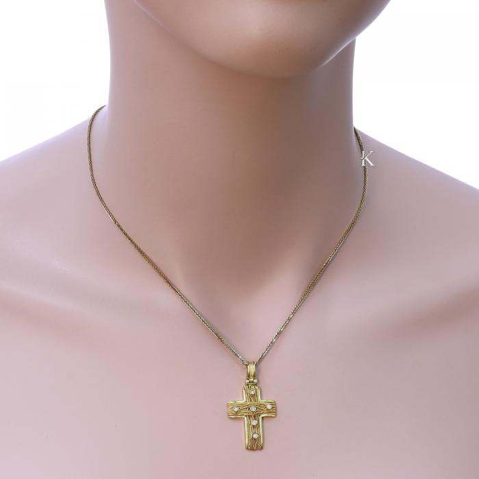 SKU-195 / Σταυρός Χρυσός Κ18 με Διαμάντια