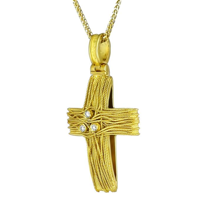 SKU-204 / Σταυρός Χρυσός Κ18 με Διαμάντια