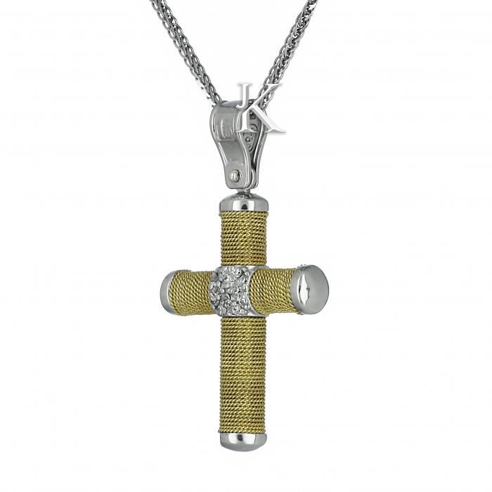 SKU-1715 / Σταυρός Λευκόχρυσος & Χρυσός Κ14 με Ζιργκόν
