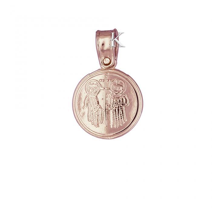 SKU-2201 / Κωνσταντινάτο Ροζ Χρυσός & Λευκόχρυσος Κ9 Διπλής Όψεως με Ζιργκόν