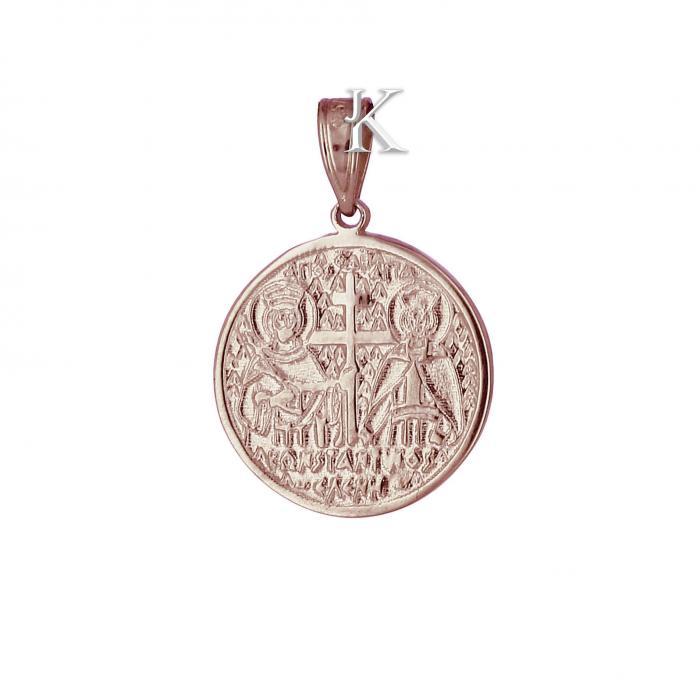 SKU-2234 / Κωνσταντινάτο Ροζ Χρυσός & Λευκόχρυσος Κ9 με Ζιργκόν Διπλής Όψεως