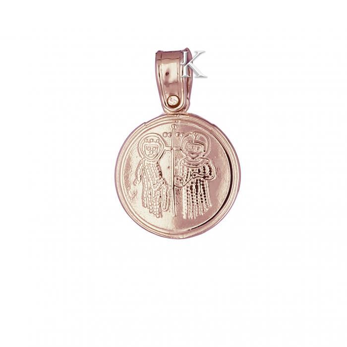 SKU-2200 / Κωνσταντινάτο Ροζ Χρυσός Κ9 Διπλής Όψεως με Ζιργκόν