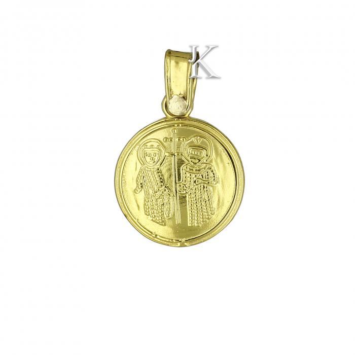 SKU-2225 / Κωνσταντινάτο Χρυσός & Λευκόχρυσος Κ14 Διπλής Όψεως με Ζιργκόν