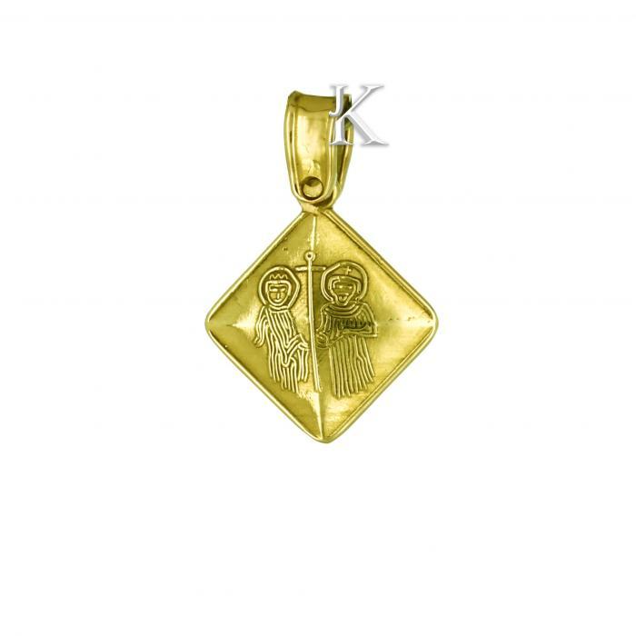 Κωνσταντινάτο Χρυσός & Λευκόχρυσος Κ9 Διπλής Όψεως με Ζιργκόν