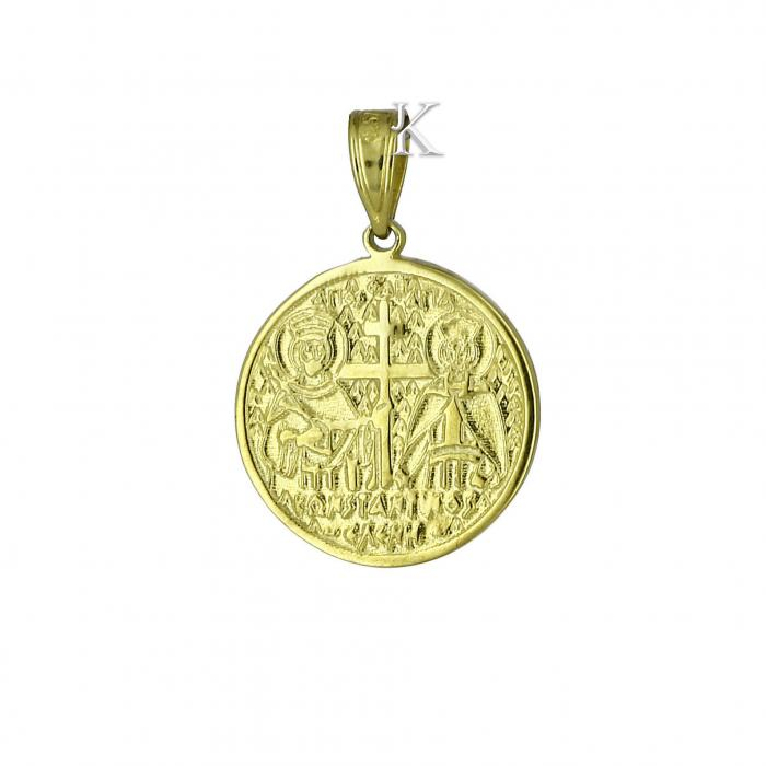 SKU-2233 / Κωνσταντινάτο Χρυσός & Λευκόχρυσος Κ9 με Ζιργκόν Διπλής Όψεως