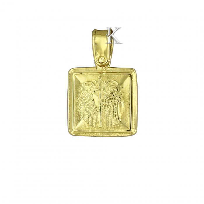SKU-2215 / Κωνσταντινάτο Χρυσός Κ9 Διπλής Όψεως με Ζιργκόν