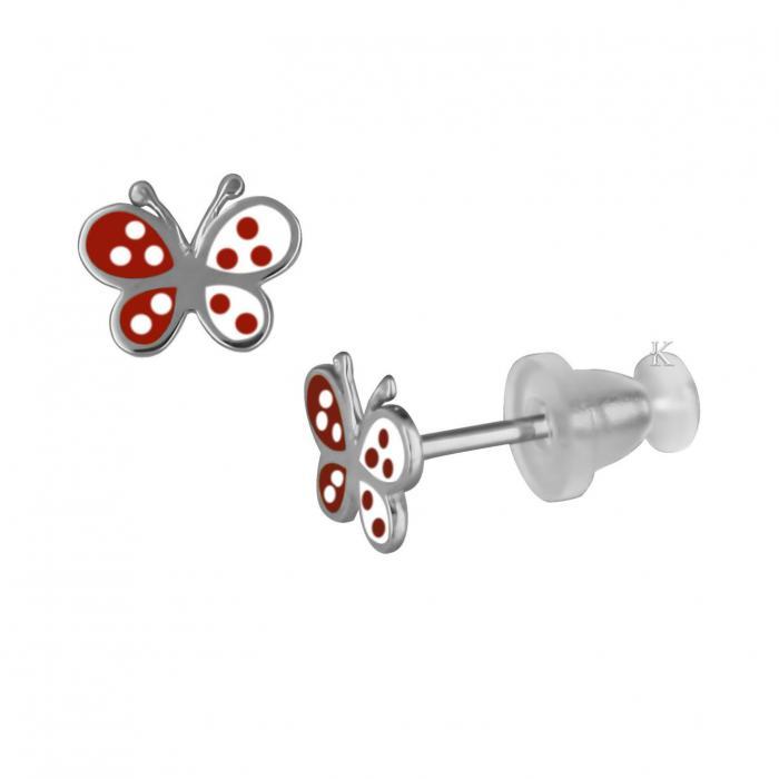 Σκουλαρίκια  Λευκόχρυσο Κ9 με Σμάλτο.