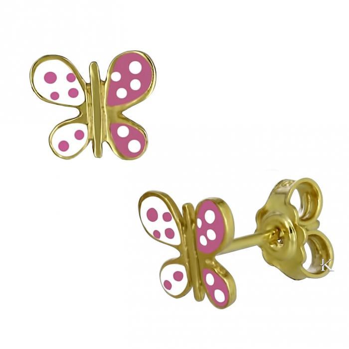 Σκουλαρίκια Χρυσός Κ14 με Σμάλτο