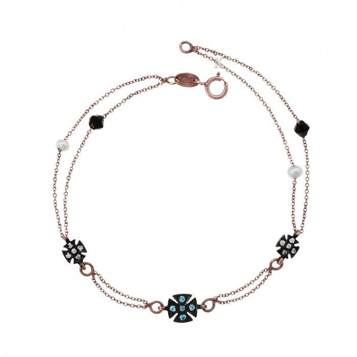 SKU-4681 /  Βραχιόλι Ροζ Χρυσός Κ14 με Μαργαριτάρια, Μαύρο Όνυχα & Ζιργκόν