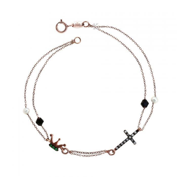 SKU-4683 / Βραχιόλι Ροζ Χρυσός Κ14 με Μαργαριτάρια, Μαύρο Όνυχα & Ζιργκόν