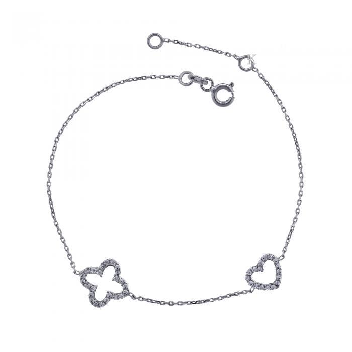 SKU-5972 / Βραχιόλι Λευκόχρυσος Κ14 με Ζιργκόν