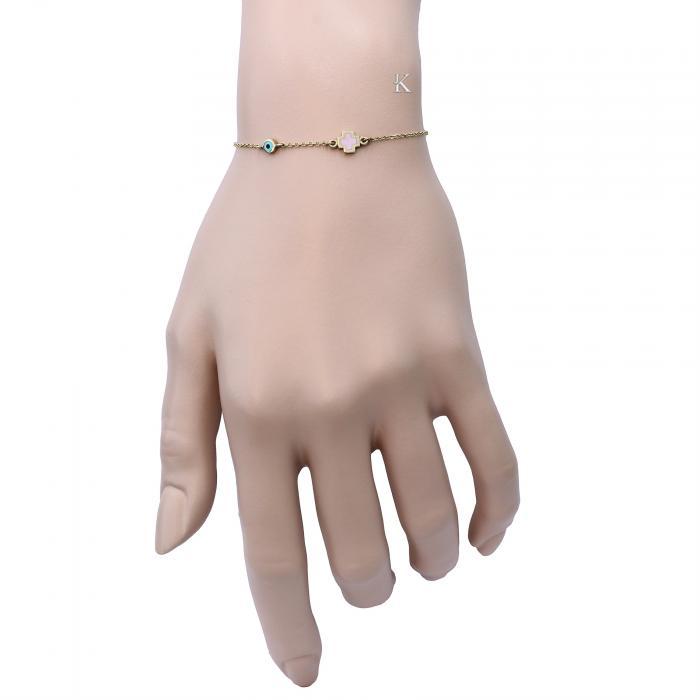 SKU-5774 / Βραχιόλι Ματάκι Χρυσός Κ9 με Σμάλτο