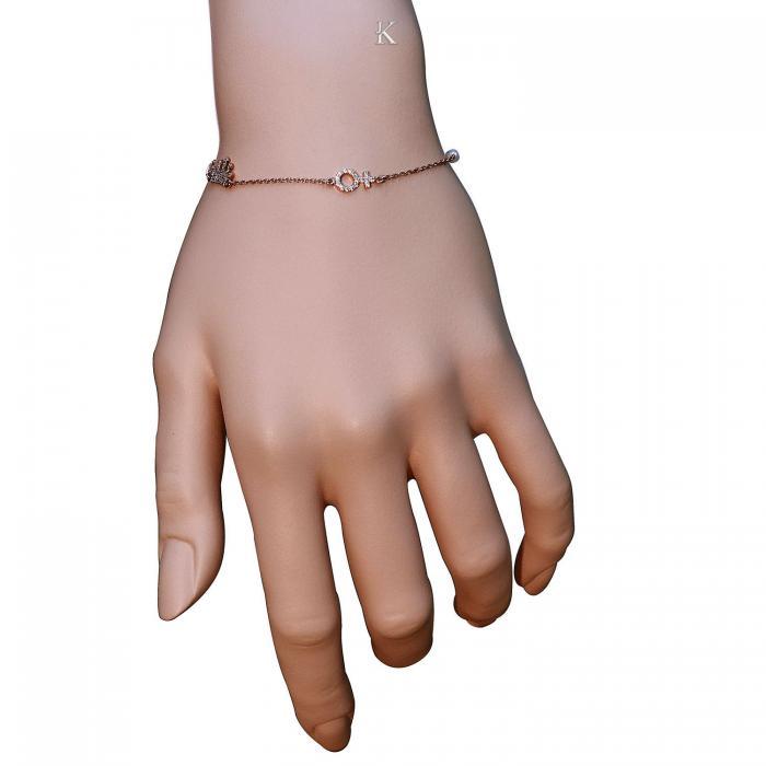 SKU-5297 / Βραχιόλι Ροζ Χρυσός Κ14 με Ζιργκόν & Μαργαριτάρια