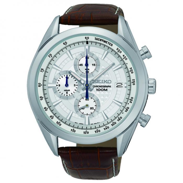 SKU-5274 / SEIKO Chronograph Brown Leather Strap