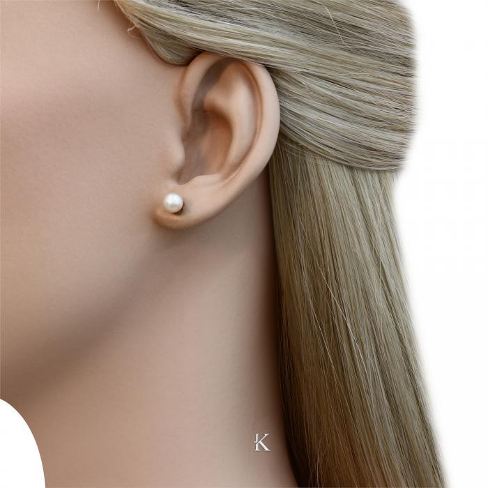 SKU-5899 /  Σκουλαρίκια Ροζ Χρυσός Κ14 με Μαργαριτάρια