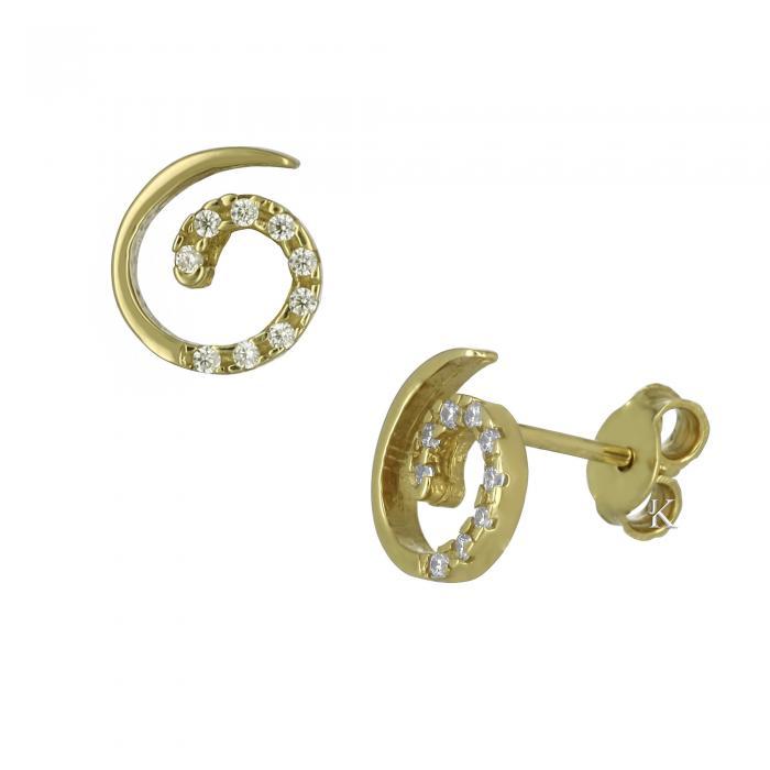 SKU-5568 / Σκουλαρίκια Χρυσός Κ14 με Ζιργκόν