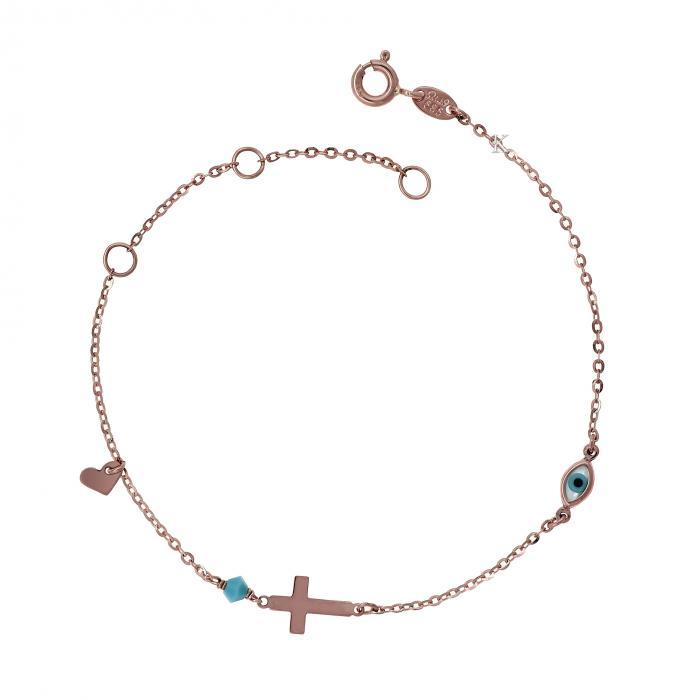 SKU-6610 /  Βραχιόλι Ματάκι Ροζ Χρυσός Κ14 με Φίλντισι &  Τιρκουάζ