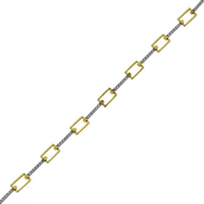 SKU-6069 / Βραχιόλι Χρυσός & Λευκόχρυσος Κ9