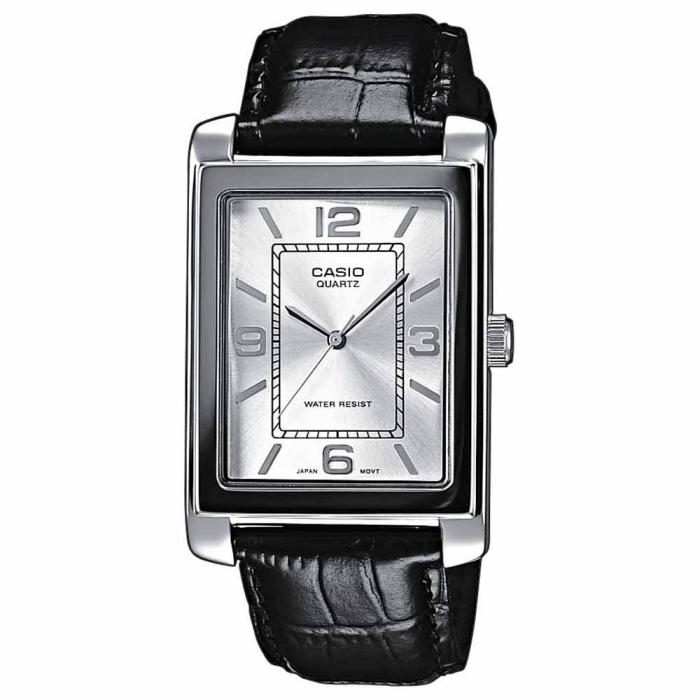 SKU-6817 / CASIO Collection Black Leather Strap White Dial