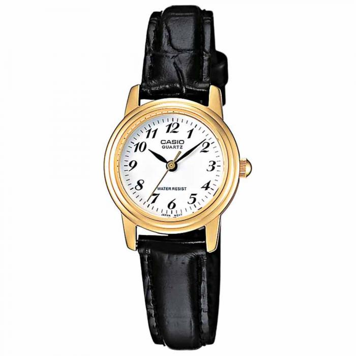 SKU-6807 / CASIO Collection Gold Case Black Leather Strap
