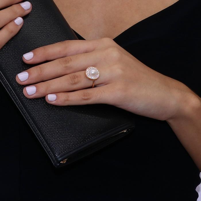 Δαχτυλίδι Ροζ Χρυσός Κ14 με Μαργαριτάρι  & Ζιργκόν