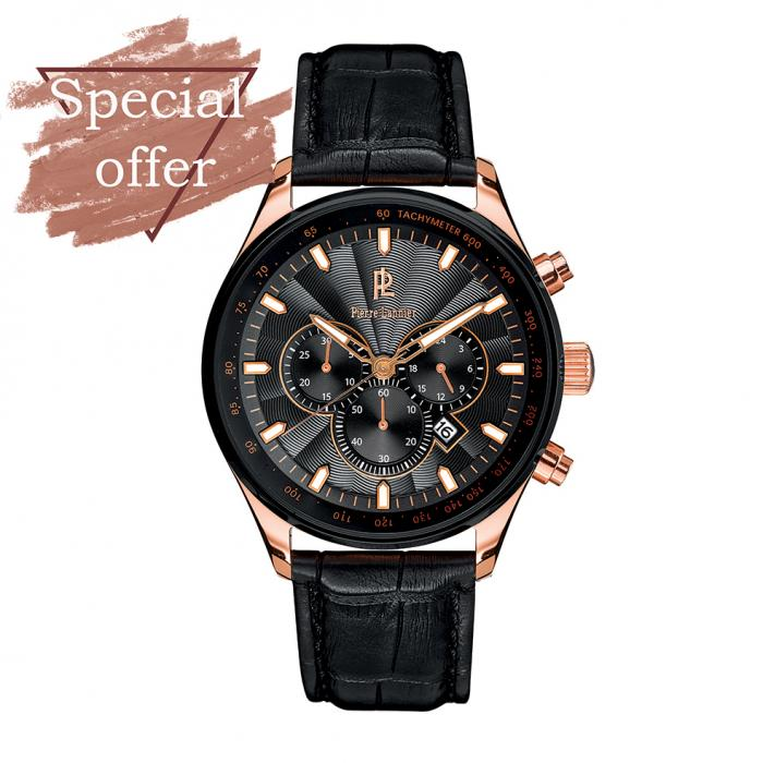 SKU-6194 / PIERRE LANNIER Chronograph Black Leather Strap