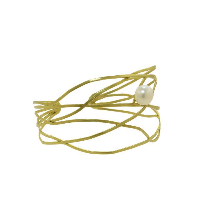 SKU-7251 / Βραχιόλι Χειροπέδα Χρυσός Κ14 με Μαργαριτάρι