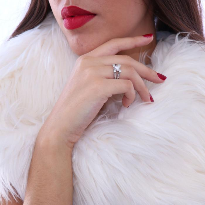 Δαχτυλίδι Λευκόχρυσος Κ14 με Ζιργκόν