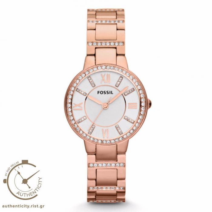 SKU-7963 / FOSSIL Virginia Crystal Rose Gold Stainless Steel Bracelet