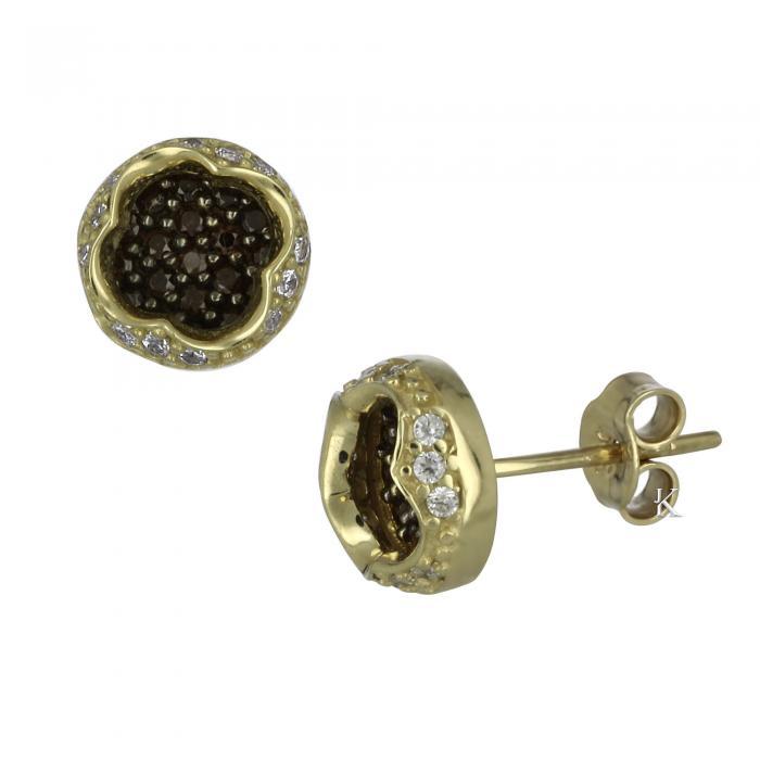 SKU-7194 / Σκουλαρίκια Χρυσός Κ14 με Ζιργκόν