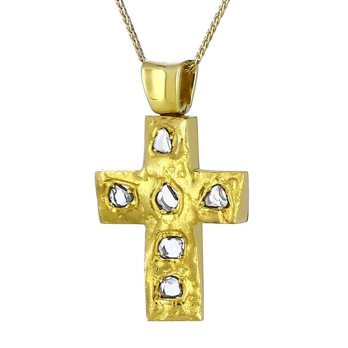 SKU-7594 / Σταυρός Χρυσός Κ14 με Διαμάντια