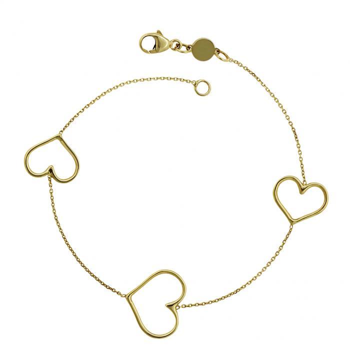 SKU-8850 / Βραχιόλι Καρδιές  Χρυσός Κ14