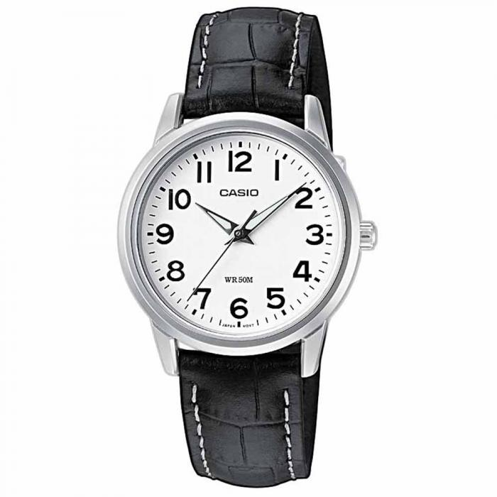 SKU-8375 / CASIO Collection Black Leather Strap