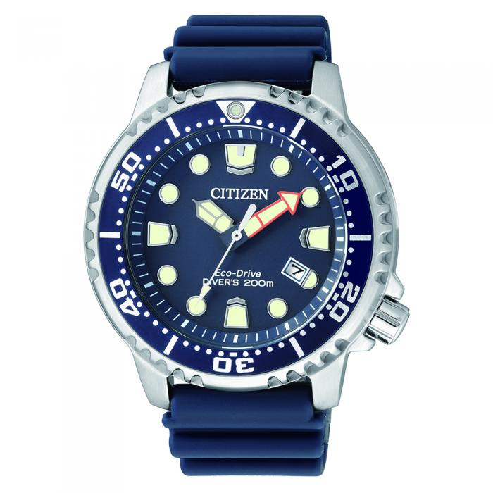 SKU-8588 / CITIZEN EcoDrive Divers Blue Rubber Strap