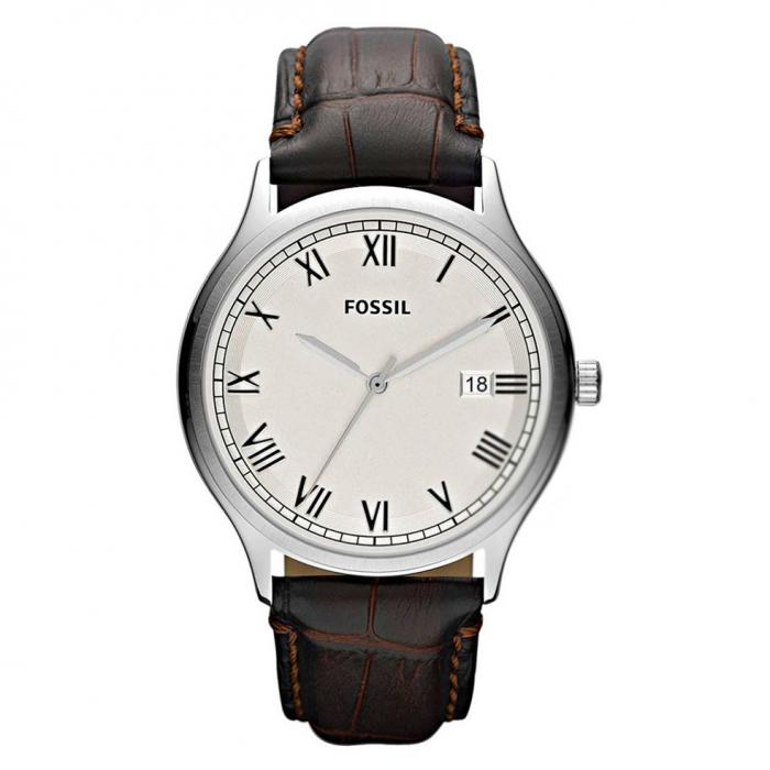 SKU-8117 / FOSSIL White Dial Brown Leather Strap