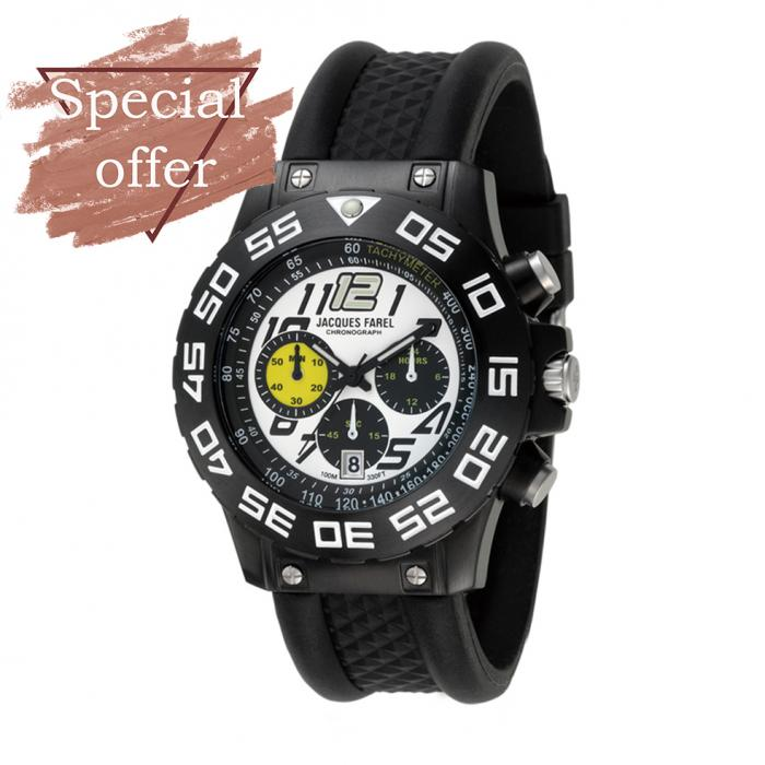 SKU-8110 / JACQUES FAREL Black Rubber Strap