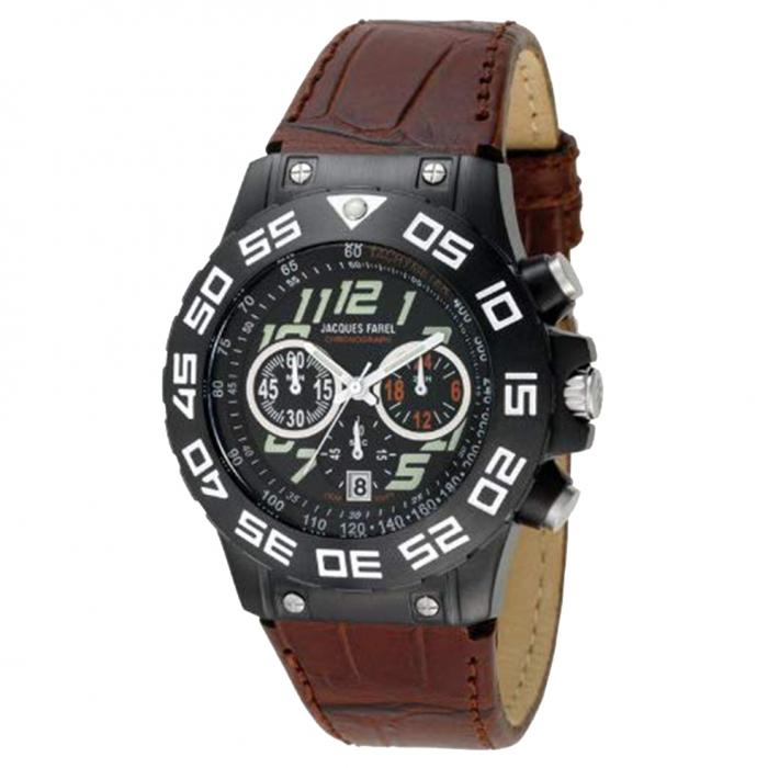 JACQUES FAREL Brown Leather Strap