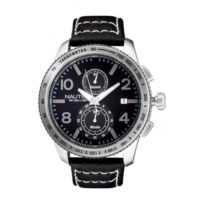 SKU-8919 / NAUTICA Black Leather Strap