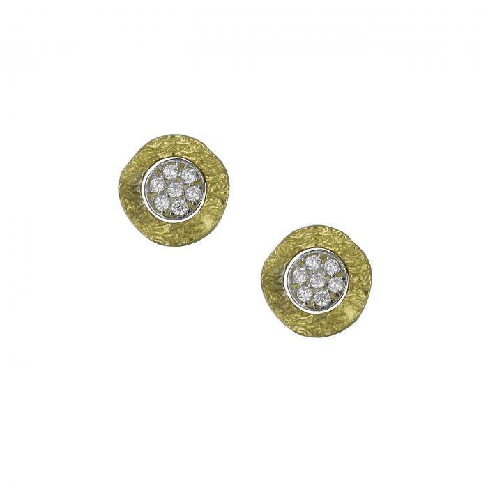 SKU-8720 / Σκουλαρίκια Χρυσός & Λευκόχρυσος Κ14 με Ζιργκόν