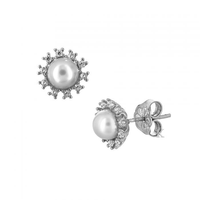 SKU-8183 / Σκουλαρίκια Λευκόχρυσος Κ14 με Ζιργκόν & Μαργαριτάρι