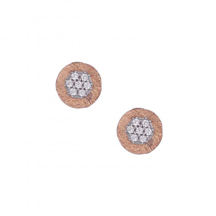 SKU-8719 / Σκουλαρίκια Ροζ Χρυσός & Λευκόχρυσος Κ14 με Ζιργκόν