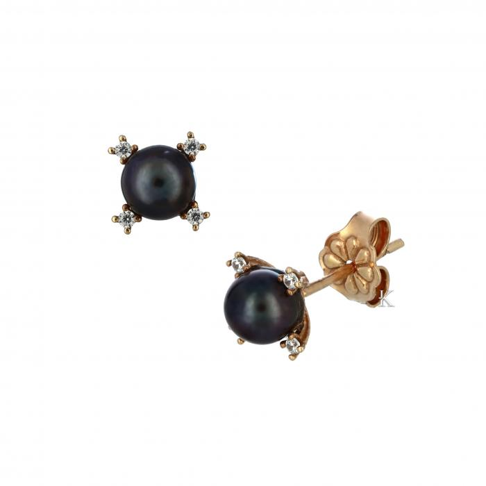 SKU-8189 /  Σκουλαρίκια Ροζ Χρυσός Κ14 με Μαύρα Μαργαριτάρια & Ζιργκόν